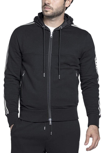 Moncler Full-Zip Cotton Hoodie Black