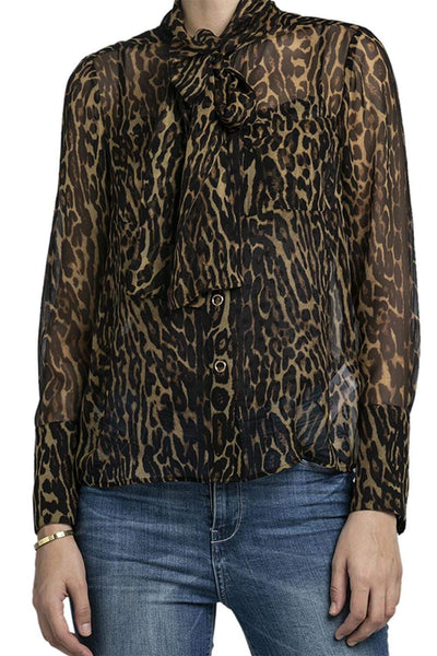 Burberry Leopard Print Tie-Neck Blouse Brown