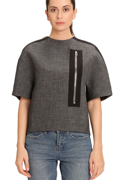 BALENCIAGA GREY BALLOON SLEEVE TOP FOR WOMEN