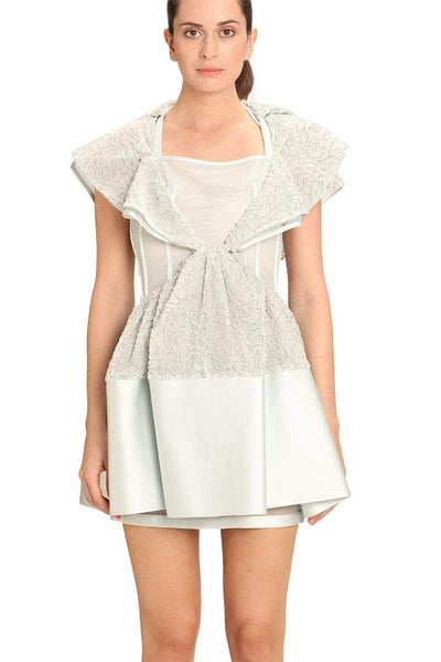 BALENCIAGA SILVER RUFFLE PLEATS SHORT DRESS