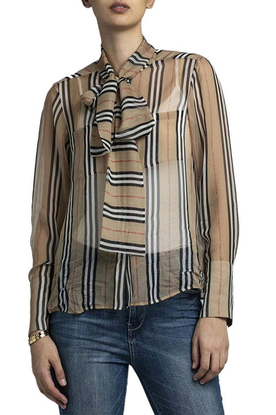 Burberry Check Print Tie-Neck Blouse Beige