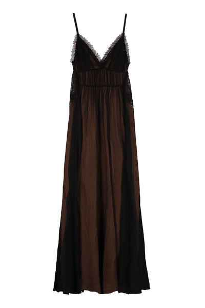 Alberta Ferretti Lace Trim Chiffon Dress