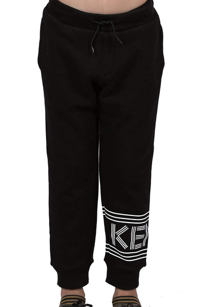 Kenzo Black Print Kid'S Track Pants For Boys