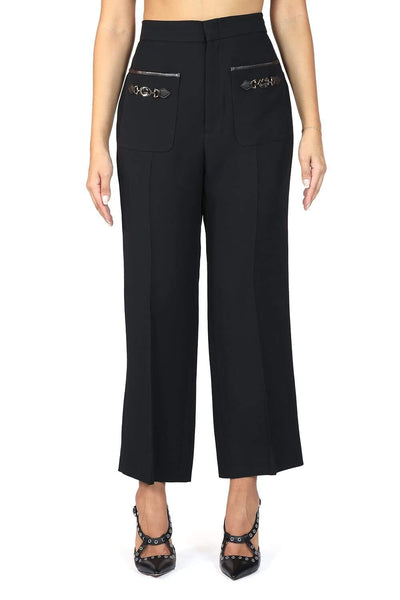 Gucci  Interlocking G Wool And Silk Cropped Trousers