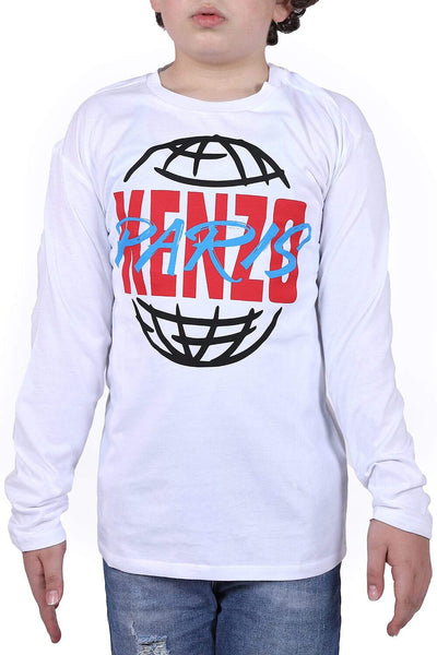 Kenzo White Long-Sleeved Kid'S T-Shirt For Boys