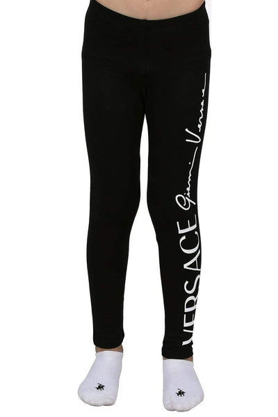 Young Versace Black Logo-Print Leggings For Boys