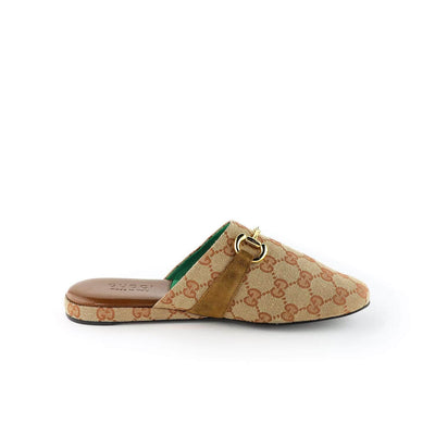 Gucci Leather and GG supreme fabric slippers