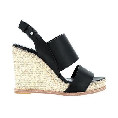 BALENCIAGA BLACK STRAW WEDGE SANDALS