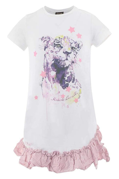 Roberto Cavalli T-Shirt Ruffle Dress