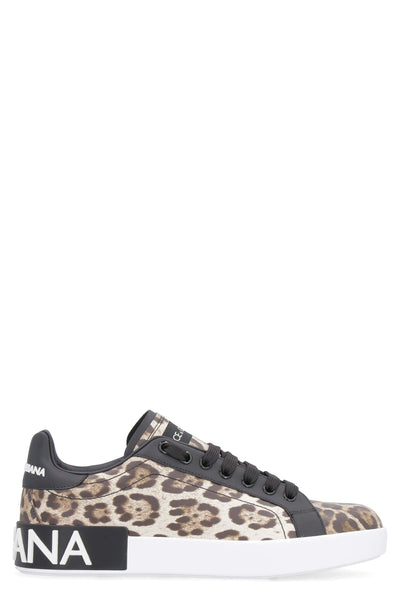 D&G Leopard-Print Leather Sneakers
