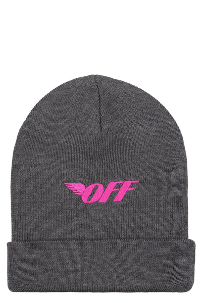 Off-White Embroidered Knit Beanie