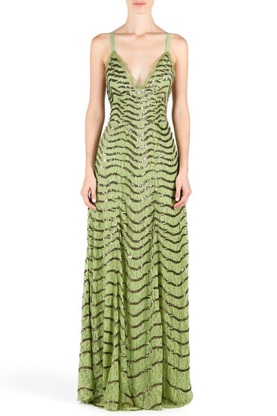 TEMPERLEY GREEN PANTHER LACE DRESS