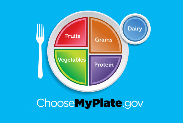 myplate diagram showing portions of fruits grains proteins vegetables and dairy