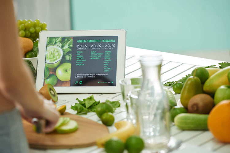 an image chart of True Lemon measuring equivalents|green smoothie formula on an iPad