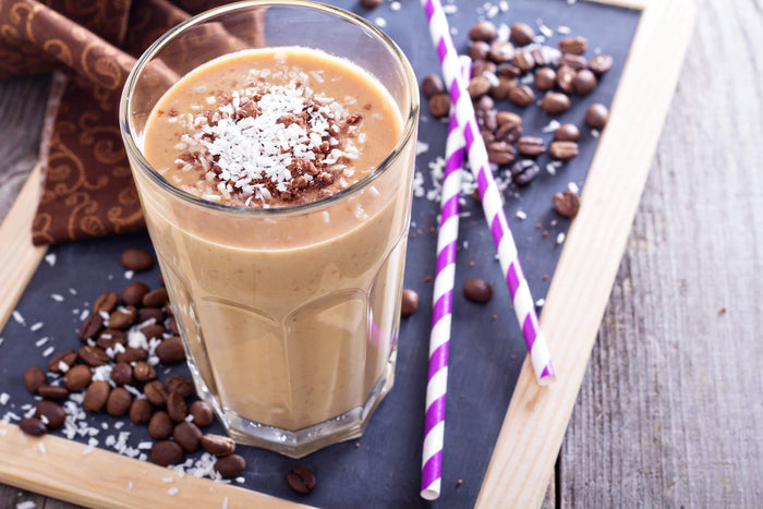 coffee flavored smoothie in a glass