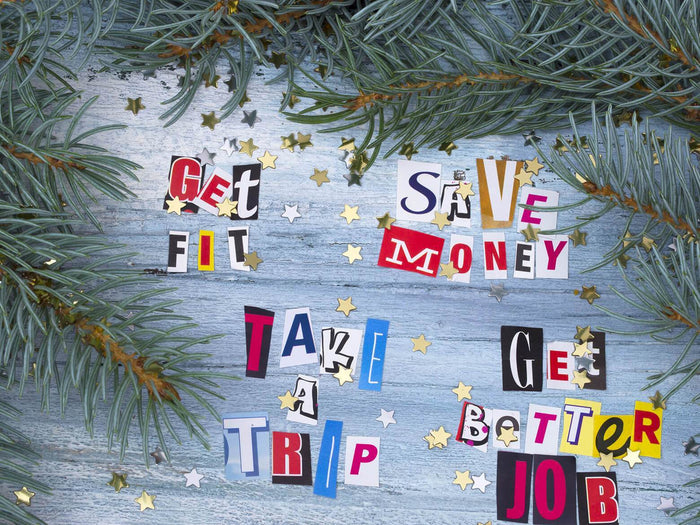 collage that says 'get fit save money take a trip get better job'