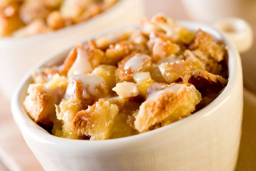 True Lemon pumpkin bread pudding in a dish