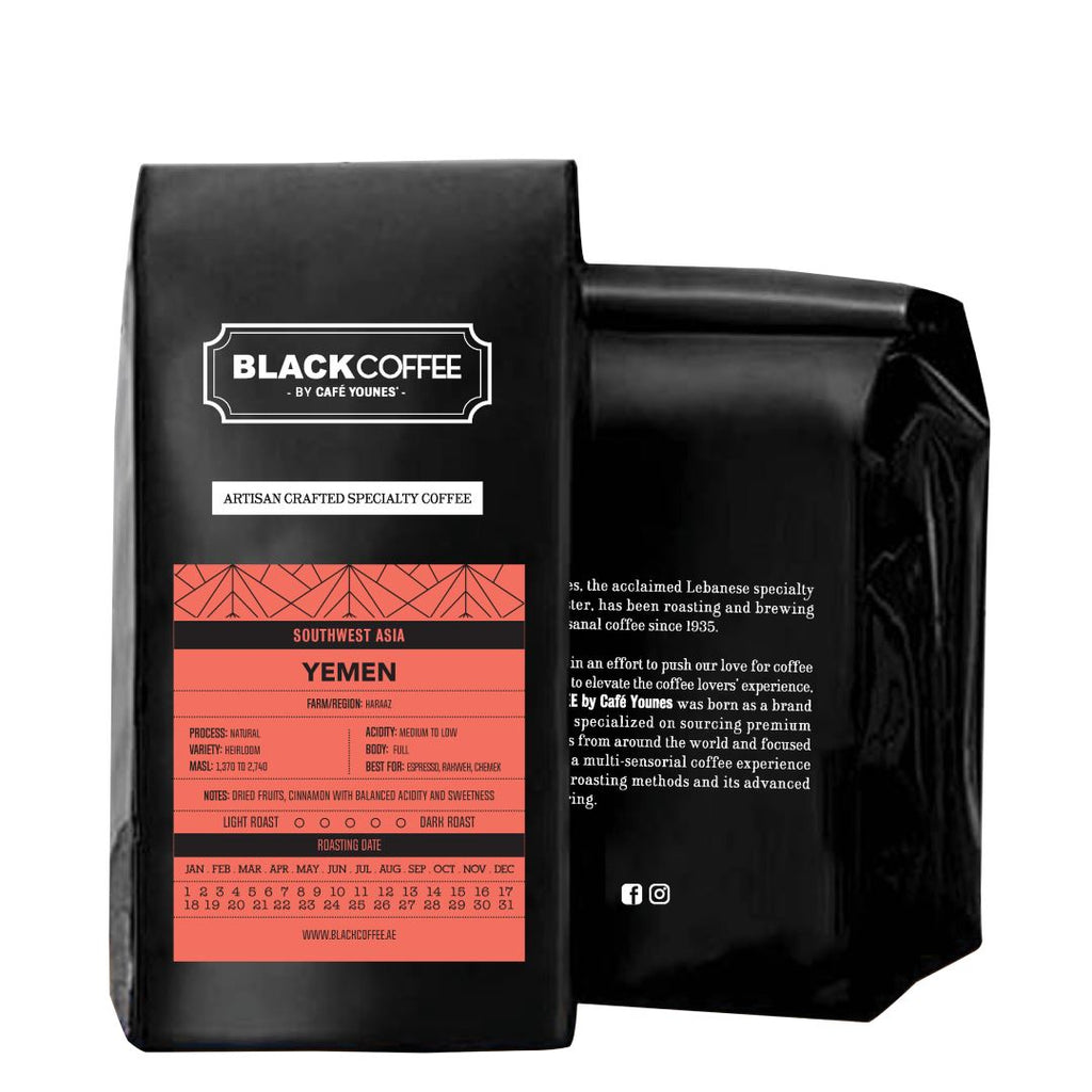 Black Coffee Yemen Haraaz coffee bean bag