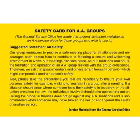 SAFETY CARD FOR AA GROUPS