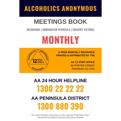 ALCOHOLICS ANONYMOUS MEETINGS BOOK