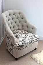 Load image into Gallery viewer, Linen deep buttoned reupholstered chair
