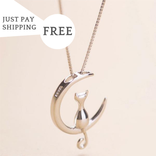 Get Yours FREE Just Pay Shipping! Cat Moon Necklace