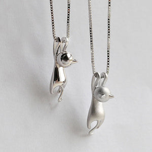 Lovely Silver Tiny Cute Cat Plated Necklace