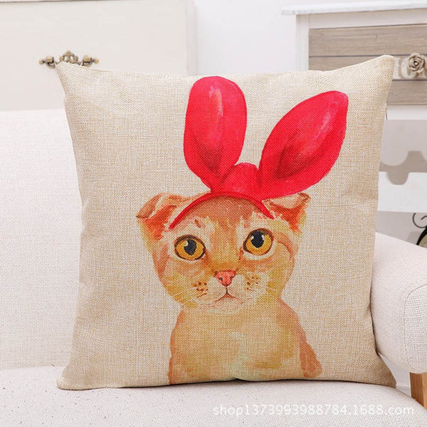 Cute Cat Decorative Cushion Cover Cotton Square Pillowcase