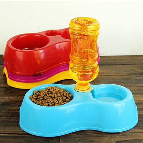 Portable Pet Feeder Dual Port Water Drinking Feeding Basin Bowls