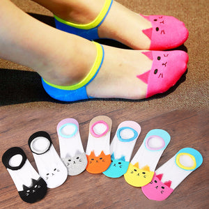 Lovely Cat Translucent Low Cut Sock