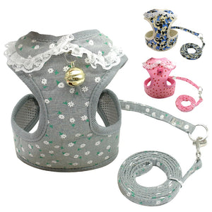 Soft Mesh Pet Puppy Dog Cat Lace Harness Leash Set with Bell