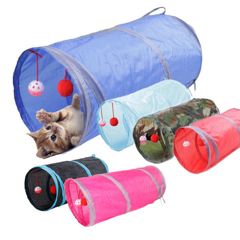 Funny Collapsible Pet Cat Tunnel with 2 Holes Play Balls