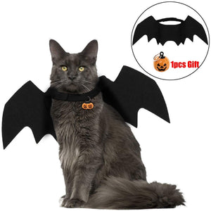 Halloween Cat Bat Wings Collar Harness Decor Puppy Pet Cat Clothes