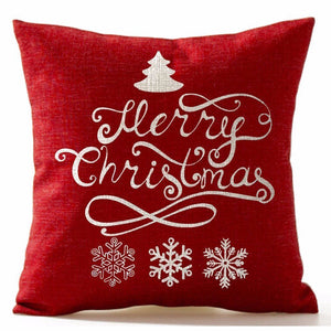 Red Merry Christmas Snowflake Pine Tree Pillowcase