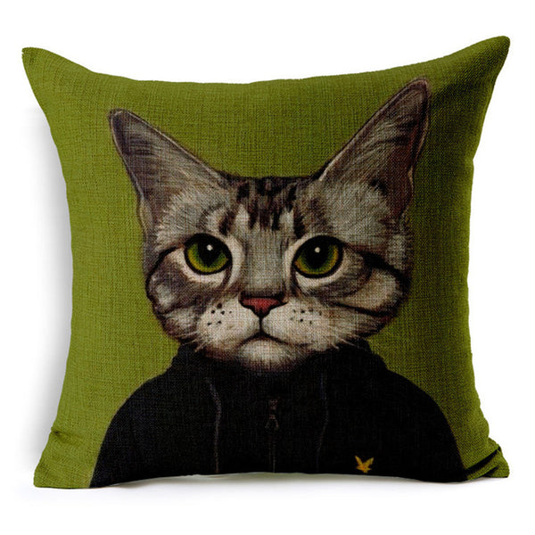 Creative Kitty Cat and God Print Home Decorative Pillowcase