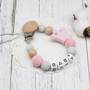 Hippomoo Pacifier Clip Baby Pink Personalized Pacifier Clip