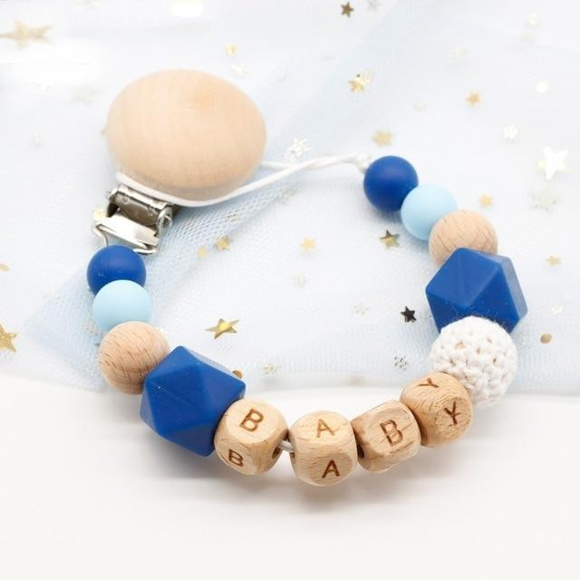 Hippomoo Pacifier Clip Blue Cute Personalized Pacifier Clip