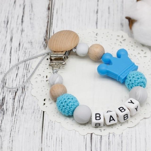 Hippomoo Pacifier Clip Blue Personalized Pacifier Clip