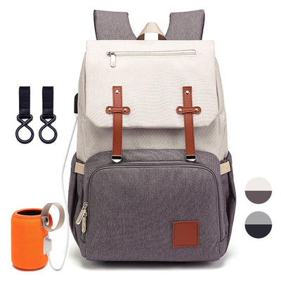 Hippomoo Diaper Bag Grey/Black Classic USB Diaper Backpack Bag