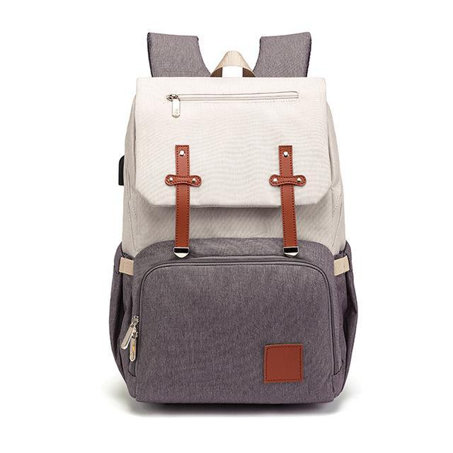 Hippomoo Diaper Bag White/Grey Classic USB Diaper Backpack Bag