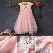 Pink Tulle Dress with Lace Backing