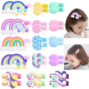 Handmade Rainbow Hair Clips (15 pairs/30 pieces)