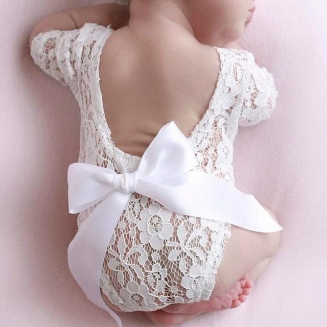 Baby Lace Romper with Bowtie