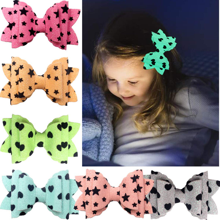 Large Glow in the Dark Hair Clips (6 pieces/set)