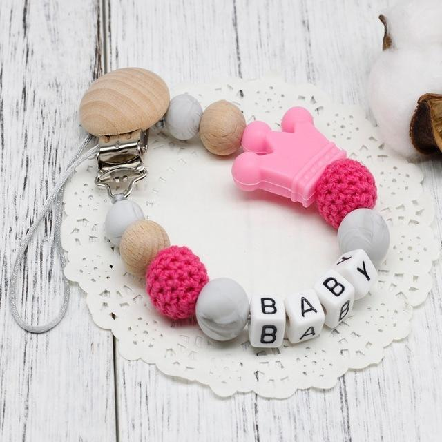 Hippomoo Pacifier Clip Pink Personalized Pacifier Clip