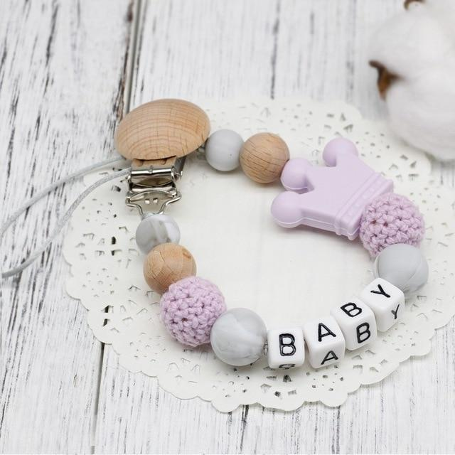 Hippomoo Pacifier Clip Light Purple Personalized Pacifier Clip
