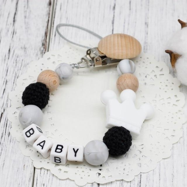 Hippomoo Pacifier Clip White Personalized Pacifier Clip