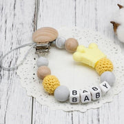 Hippomoo Pacifier Clip Yellow Personalized Pacifier Clip