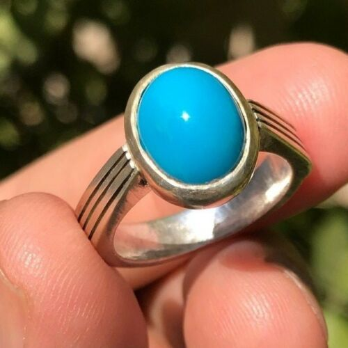 100% Natural Blue Turquoise sterling silver Ring - Lady/Men Ring Re-sizable