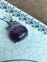 100% Natural Amethyst Gemstone Pendant with 925 Sterling Silver
